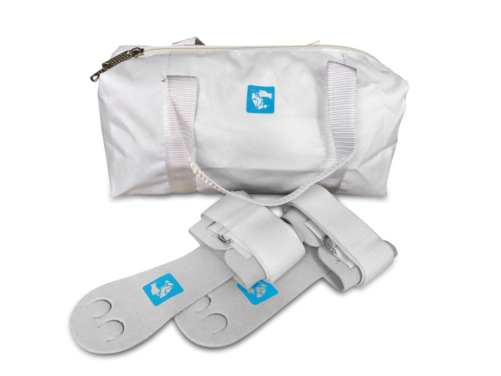 Gymadvisor senior white leather gymnastic palm hand guards + white kit bag