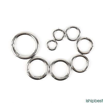 Lot 15mm Round Carabiner Push Gate Snap Open Hook Spring Ring Camping 5-1000 PCS