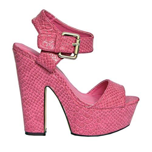 3-8 S515-femme bride cheville talon haut massif serpent imprimer soirée sandales uk