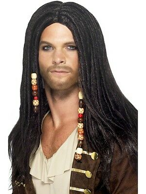 Mens Pirate Wig Beads Braided Dreadlocks Dreads Long Black Hair Adult Costume