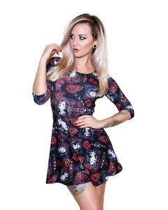 Day-Of-The-Dead-Mexican-Sugar-Skull-Skeleton-Roses-3-4-Sleeve-Skater-Dress-Goth