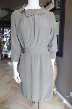 MIKE & CHRIS Taupe 3/4 Sleeve Round Neck Front Slit Detail Silk Wrap Dress Sz L