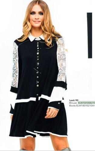 Elisa Cavaletti lange schwarz weiße Bluse Tunika ELW181008210 Gr S M  XL