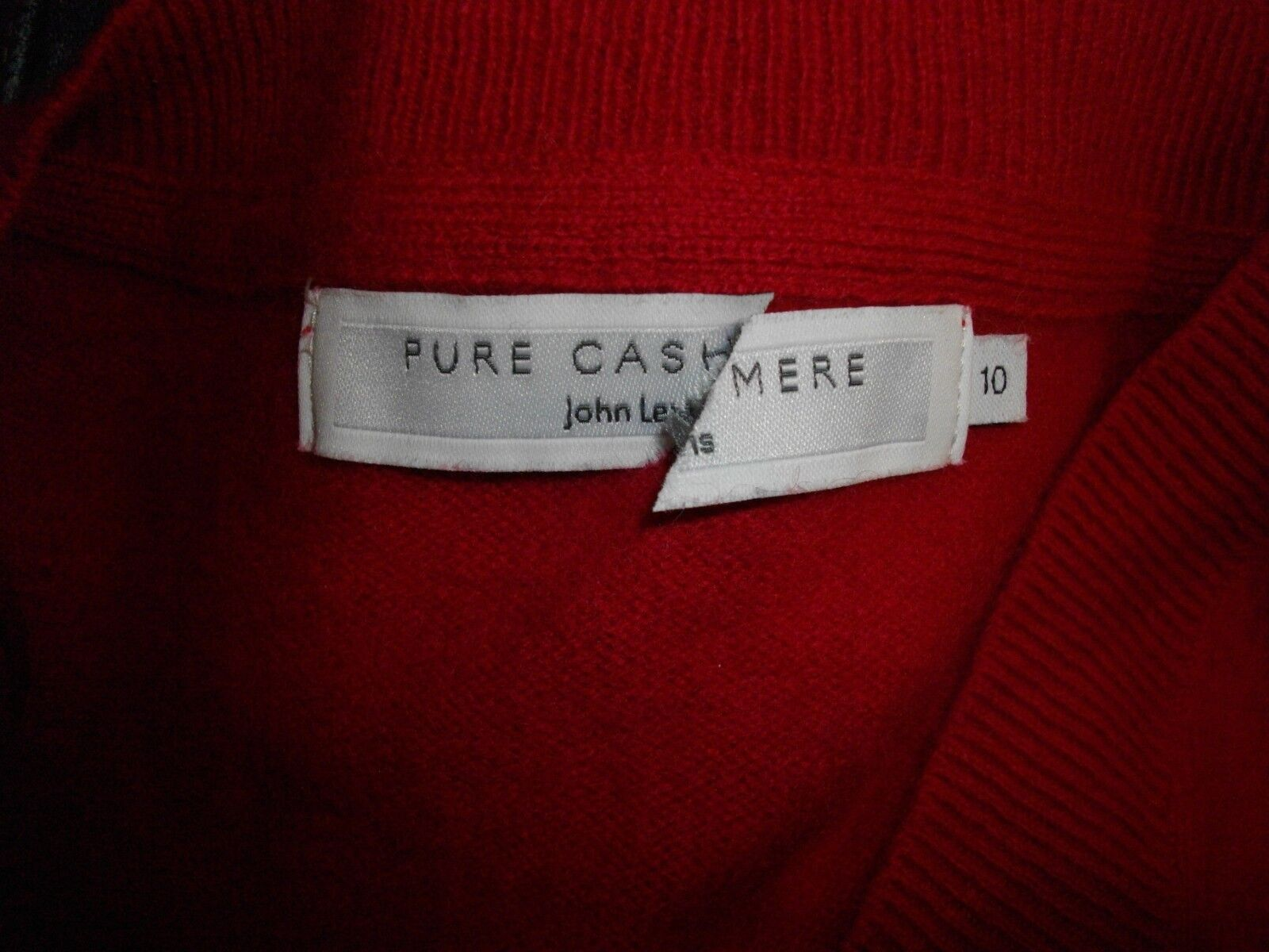 NEW  JOHN LEWIS PURE COLLECTION   100% CASHMERE CASHMERE CASHMERE RED V JUMPER SIZE 10 RRP ea40fb