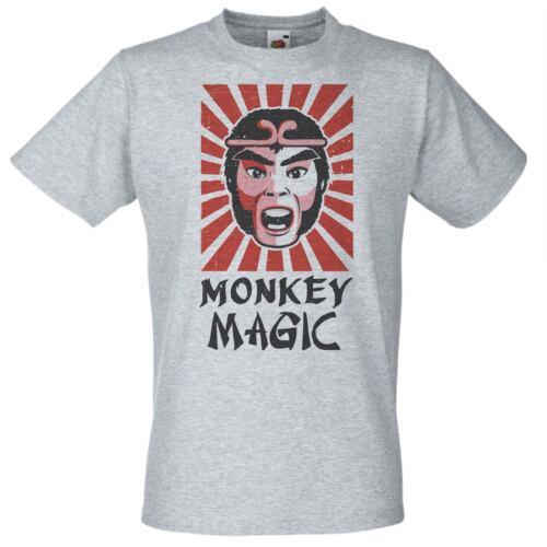 Mens Grey Monkey Magic T-Shirt 1980/'s Funny Japanese TV Show