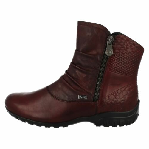 Ladies Rieker Z4663 Red Leather Casual Warm Lined Ankle Boots