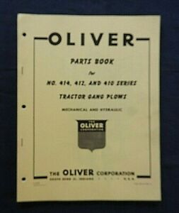 "1950's OLIVER ""No. 412 412 414 Series TRACTOR GANG PLOW"" PARTS CATALOG MANUAL"