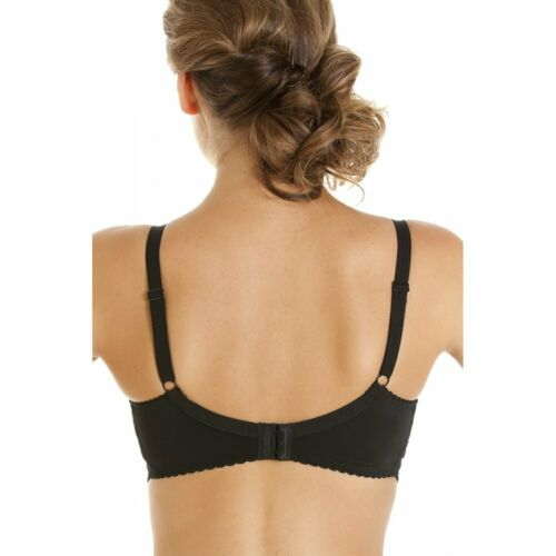 Camille Womens Ladies Full Cup Underwired Floral Lace Black Bra
