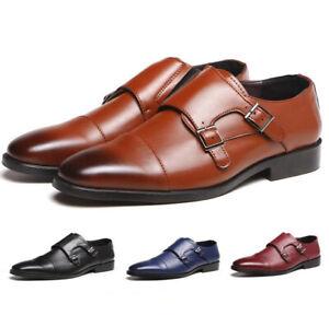 Hommes-Cuir-Derbies-Monk-Strap-Richelieu-a-Chaussures-Robe-Formelle-Chaussures-Mocassins-Casual