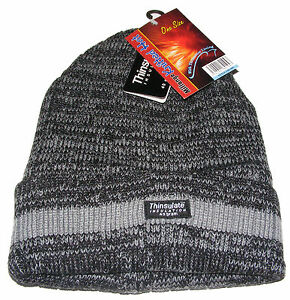 MENS CHUNKY KNITTED GREY   LIGHT GREY BEANIE HAT THERMAL THINSULATE ... 0e23bdb57e6