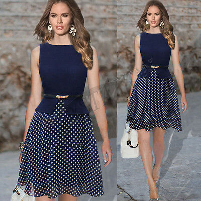 Women Vintage Celeb Belted Polka Dot Business Cocktail Party Slim Chiffon Dress