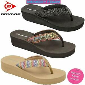 Ladies-Womens-Dunlop-Memory-Foam-Comfort-Walking-Beach-Wedge-Sandals-Shoes-Size