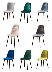 Dining-Chairs-Set-Modern-4-Pcs-Stylish-Dutch-Velvet-Linen-Chair-Kitchen-Room-US