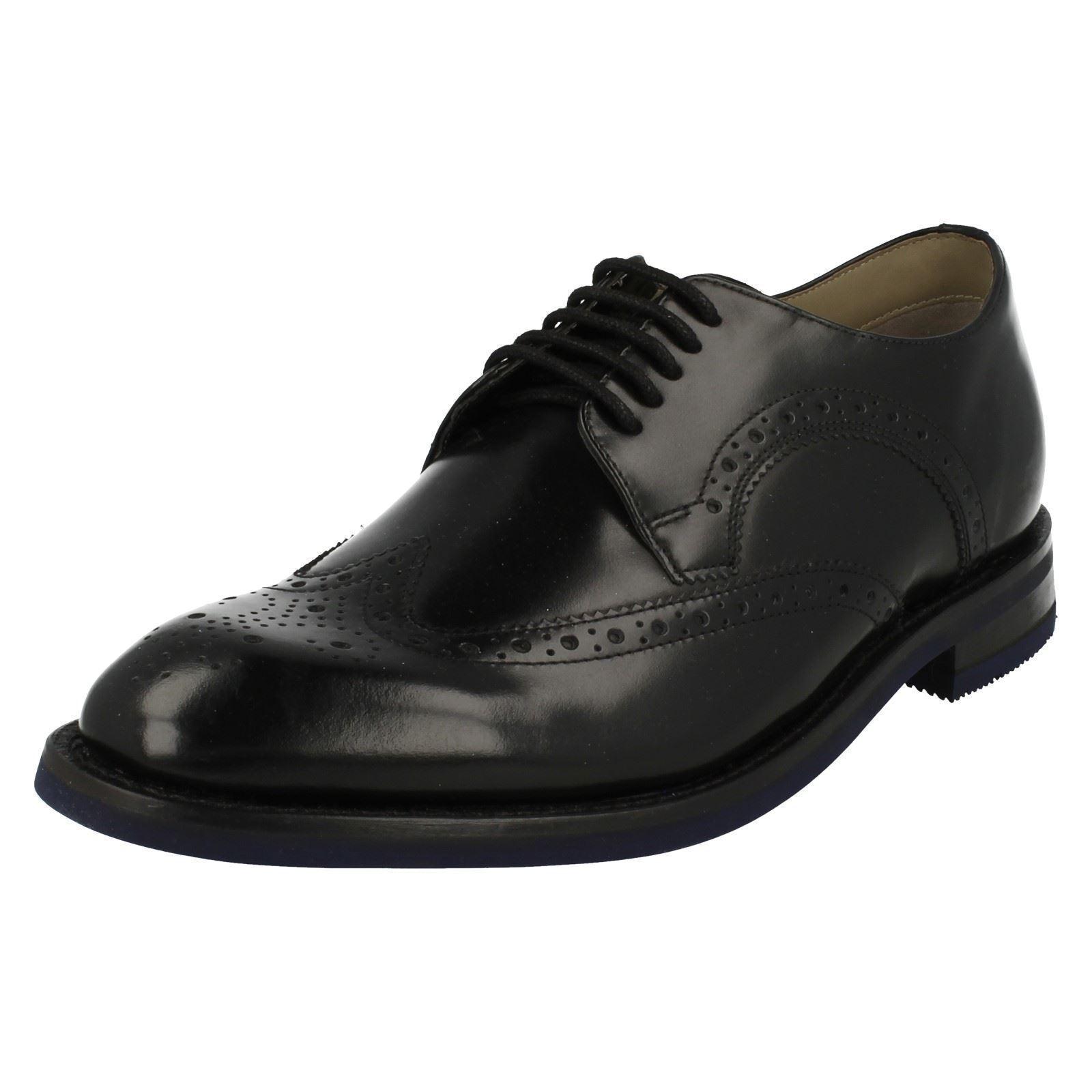 Mens Clarks Swinley Limit Smart Black Leather Lace Up Shoes