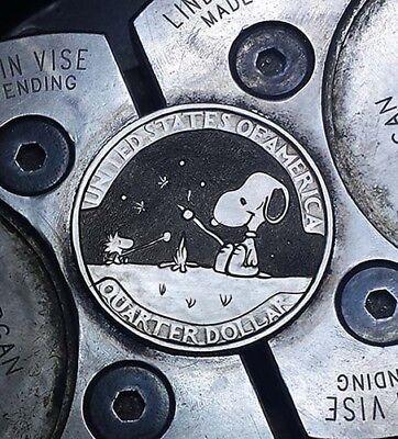 Coalburn classic Hobo Nickel  engraved Snoopy Woodstock Washington quarter.
