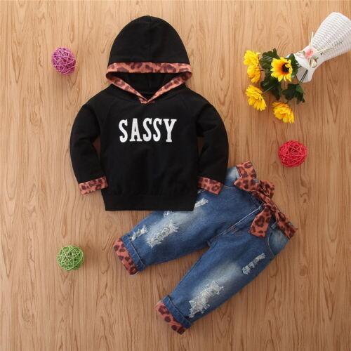 Kids Girls Hoodie Jumper Sweatshirt Shirt Top Jeans Denim Trousers Pants Outfits