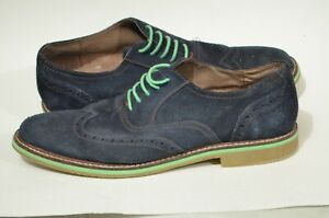 Banana Republic 8.5 Navy Blue Suede Green Derby Oxford Dress Shoes