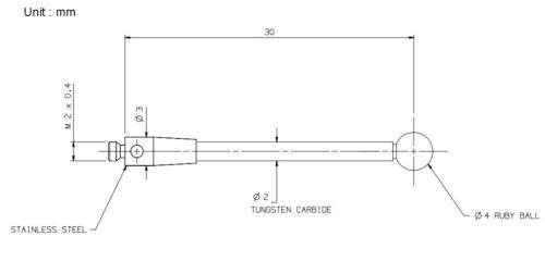 CMM Touch Probe M2 Thread Probe Stylus 4mm Ruby Ball Tips 30mm Long A-5003-0043
