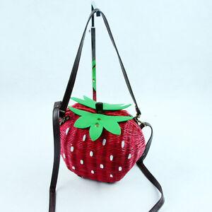 NEW-Lovely-type-Fruit-strawberry-handbag-single-shoulder-bag-bag-Grass-woven-bag