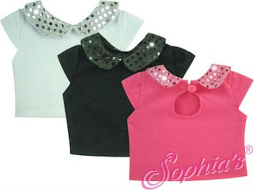 """Sophia/'s® 18/"""" Doll Clothes Sparkle Collar Tee fits 18/"""" Doll Shirt Top"""