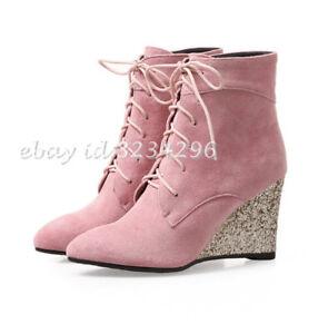 Das Bild wird geladen Keilabsatz-Stiefeletten-Damen-OL-Ankle-Boots -Pailletten-Wedge- 3bdfa41acc