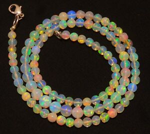 wello fire Opal,Natural Opal Gemstone,Raw Opal,Ethiopian Opal Beads Necklace 14.2 Inches  EE81 Natural Ethiopian Blue Opal Beads