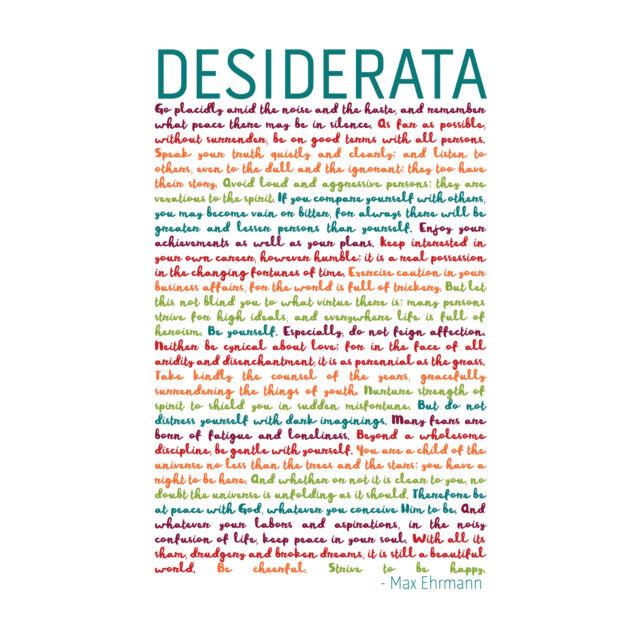 Desiderata Rainbow Words Ehrmann Typography Framed Wall Art Print