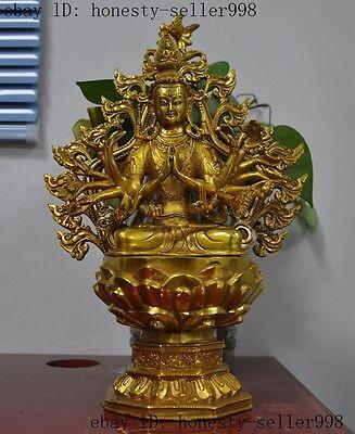 """13""""old Tibet Buddhism Temple Bronze Gilt 18 Arm Kwan-yin Guanyin Goddess Statue Convenience Goods"""
