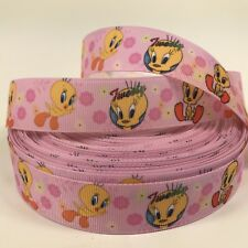 2 METRE TWEETY PIE RIBBON SIZE 1 INCH BOWS HEADBANDS HAIR CLIPS BOWS CARD MAKING