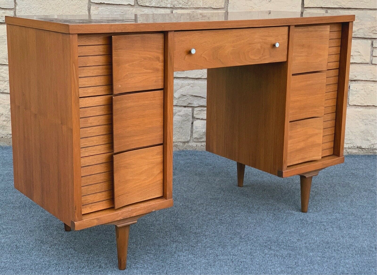 Image of: Mid Century Modern Writing Desk Architecture Console Interiors Walnut Finish For Sale Online Ebay