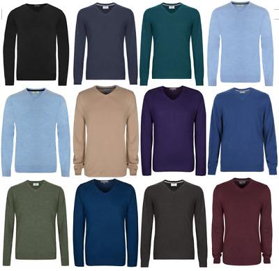 M&S Marks and Spencer V Neck Men's Jumper Cotton Blend Knitwear Regular Slim Fit | eBay