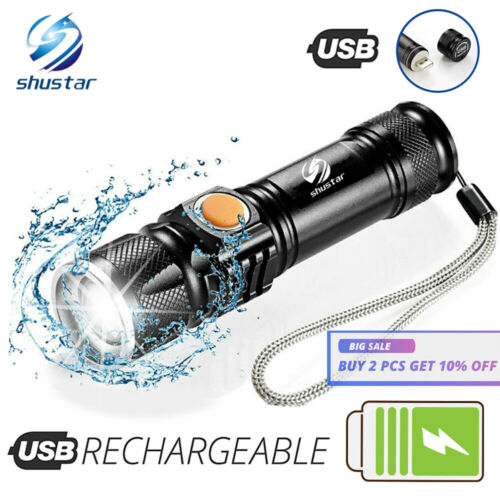 USB Rechargeable Zoomable Ultra Bright Waterproof LED Torch Flashlight Lamp Set