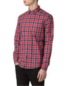 NEW Ben Sherman Long Sleeve Marl Tartan Shirt Red