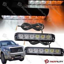 2x 6 LED Amber White Warning Emergency Bar Strobe Flash Light Bar Car Truck