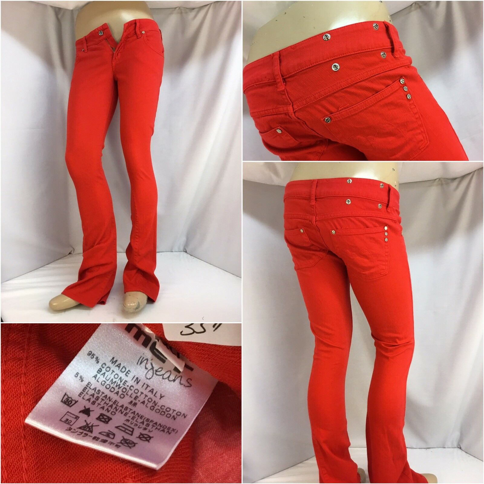 MET Injeans Pants Sz 30 Red Cotton Lycra Skinny Made In  Mint YGI 5936