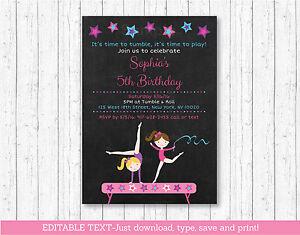 Gymnastics chalkboard birthday invitation printable editable pdf ebay image is loading gymnastics chalkboard birthday invitation printable editable pdf filmwisefo