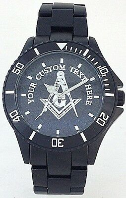 BLACK ALUMINUM MASONIC WATCH -PERSONALIZED SQUARE & COMPASS MEDALLION DIAL - NEW