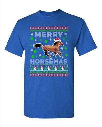 Merry Horsemas Horse Animals Ride Xmas Ugly Christmas Funny Adult DT T-Shirt Tee