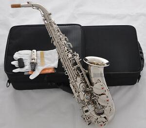 Professional-Silver-nickel-Alto-Saxophone-Eb-sax-Black-Shell-Key-High-F-W-Case