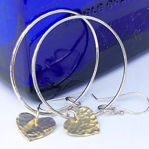 Silver-Hoop-Earrings-with-hammered-brass-hearts-handmade