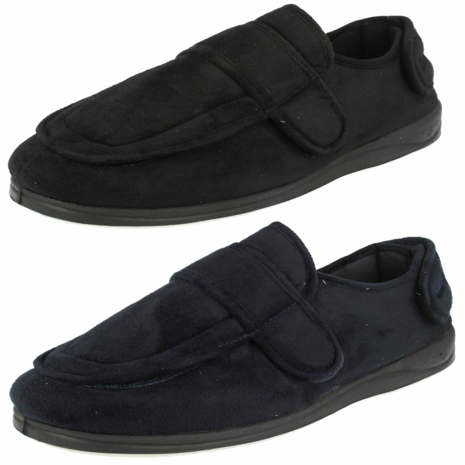 Mens Padders Wrap Navy or Black Rip Tape Strap Slippers Wide G Fitting