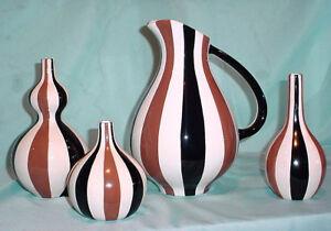 Image Is Loading Brown Black Stripes Jonathan Adler Art Pottery Modernist