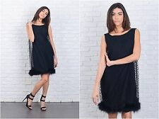 Vintage 60s Black Mod Dress Polka Dot Feather Mini Cocktail Party Small S