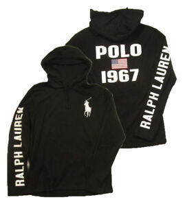 e3ead7d0 Polo Ralph Lauren Men's Big Pony Black Pullover Graphic Hooded T ...