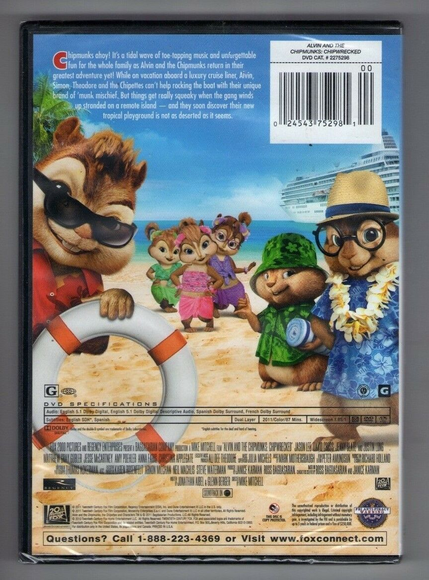 alvin and the chipmunks chipwrecked new dvd jason lee jenny slate