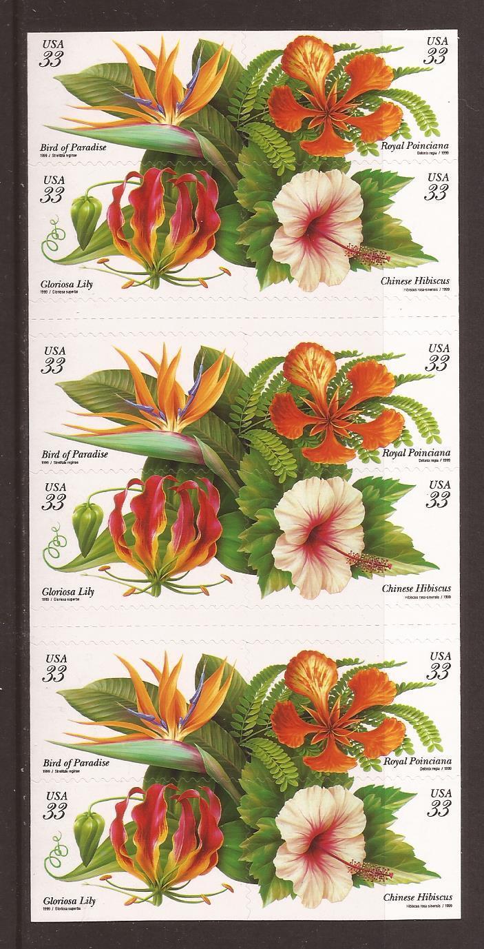 1999 33c Tropical Flowers, Booklet of 20 Scott 3310-13