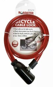 UK Bicycle Bike Cycle Cable lock 2 Keys Security Safety Anti Theft color red