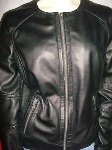 New Women S Black Rivet Brand 100 Leather Jacket Size M Ebay