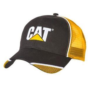 cde1634de43d2 Caterpillar CAT Equipment Black Twill Yellow Mesh w Mesh Accents Cap ...