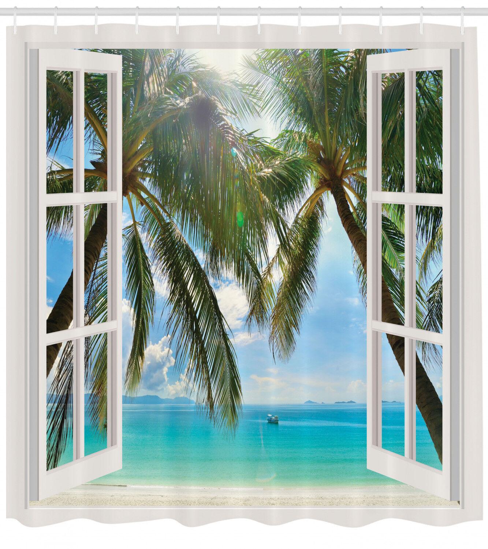 Nautical Ocean Decor Palm Trees Tropical Island Beach Shower Curtain Blue Aqua